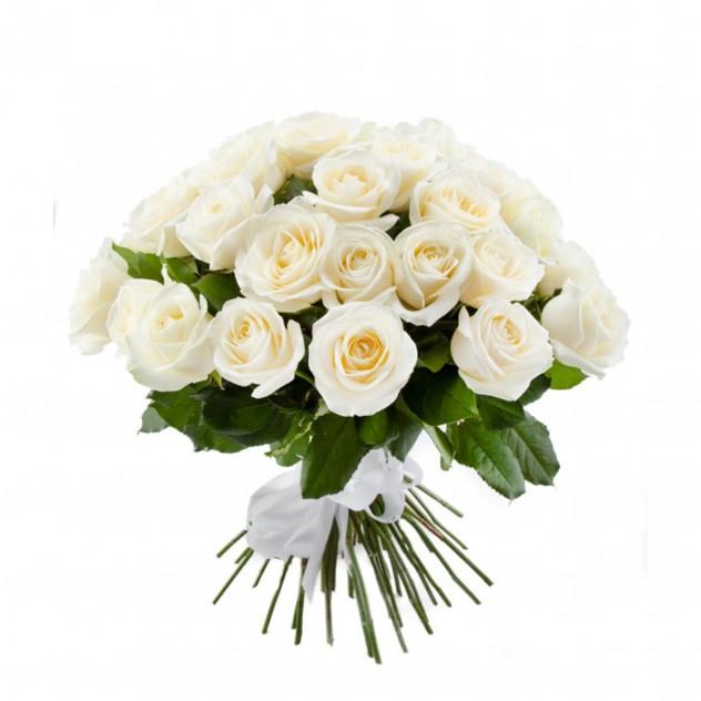 51 белая роза 40 см